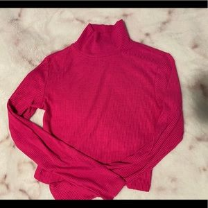 Hot pink cropped turtle neck
